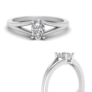 Platinum Single Oval Diamond Ring
