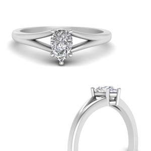 Split Pear Shaped Solitaire Ring