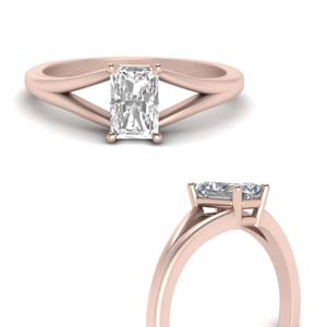 Split Shank Radiant Diamond Ring