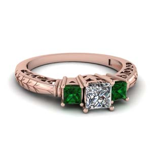 18k Rose Gold Emerald Ring