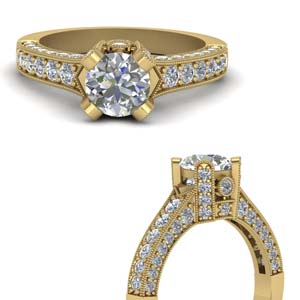 3 Side Pave Diamond Ring