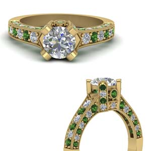 18K Gold Antique Ring With Emerald