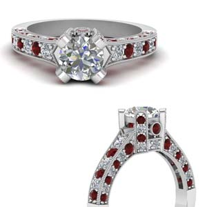 Milgrain Ruby Ring For Women