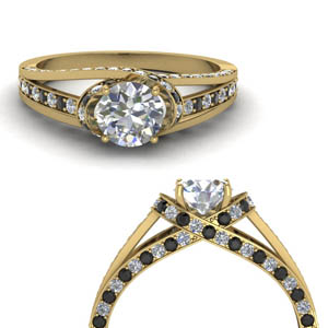 criss cross halo engagement ring with black diamond in FDENR8359RORGBLACKANGLE3 NL YG.jpg