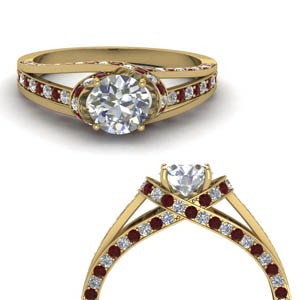 criss cross halo diamond engagement ring with ruby in FDENR8359RORGRUDRANGLE3 NL YG.jpg