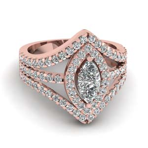 halo split shank marquise engagement ring in 18K rose gold FDENR8427MQR NL RG