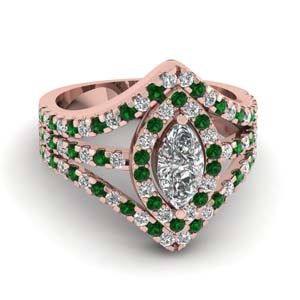 halo split shank marquise engagement ring with emerald in 14K rose gold FDENR8427MQRGEMGR NL RG