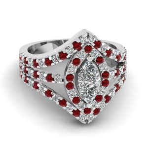 Marquise Shaped Halo Ring With Ruby