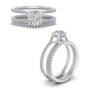 White Gold Round Cut Wedding Sets