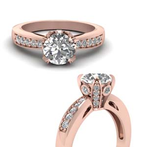 Small Pave Diamond Ring 18K Rose Gold