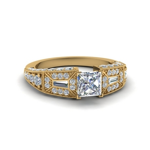 princess cut wide antique style diamond engagement ring in FDENR8601PRR NL YG