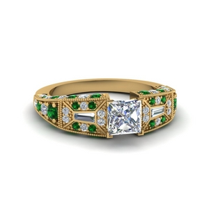 Princess Diamond Ring With Emerald