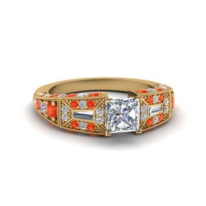 Orange Topaz Antique Milgrain Ring