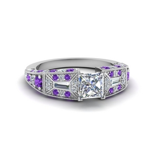 Vintage Purple Topaz Diamond Ring