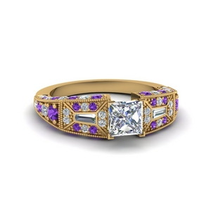 Milgrain Purple Topaz Wedding Ring