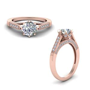 High Set Milgrain Diamond Ring
