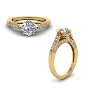 Gold High Set Milgrain Diamond Ring