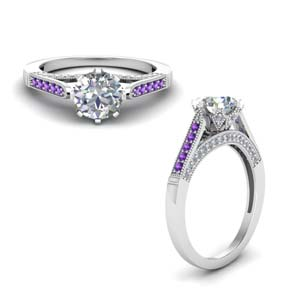 Cathedral Milgrain Purple Topaz Ring