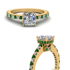 Emerald Delicate Asscher Diamond Ring