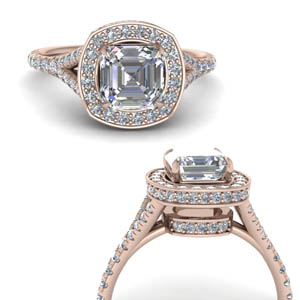 Asscher Diamond Halo Wedding Ring