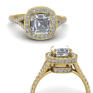 Hidden Halo Split Shank Diamond Ring
