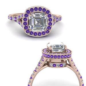 Square Halo Purple Topaz Ring