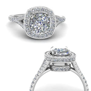 Diamond Halo Split Ring