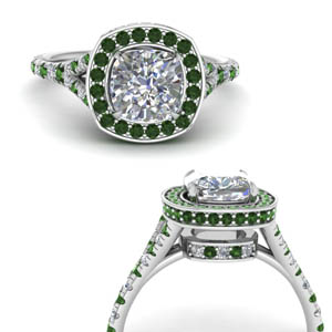 Halo Cushion Cut Emerald Ring