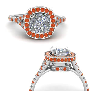 Orange Topaz Halo Split Ring