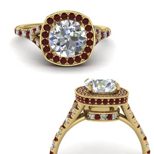 Round Cut Ruby Halo Ring