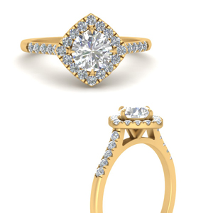 Scalloped Pave Halo Lab Diamond Ring