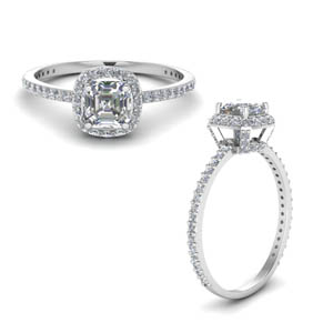 1 Carat Simple Crown Halo Ring