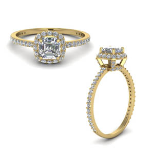 Asscher Cut Crown Halo Ring
