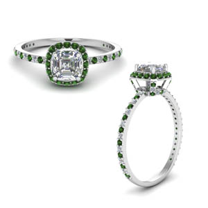 Asscher Cut Emerald Halo Rings