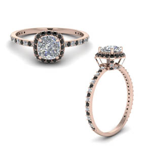 14K Rose Gold Diamond Prong Halo Ring