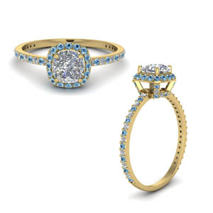 Gold Moissanite Halo Blue Topaz Ring