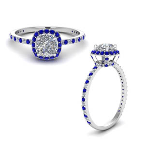 Cushion Cut Halo Blue Sapphire Rings