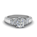 round cut pave antique design diamond shank engagement ring in FDENR8925ROR NL WG