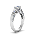 round cut pave antique design diamond shank engagement ring in FDENR8925RORANGLE2 NL WG