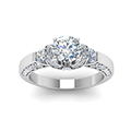 round cut pave antique design diamond shank engagement ring in FDENR8925RORANGLE5 NL WG