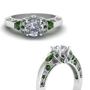 White Gold Emerald Antique Ring