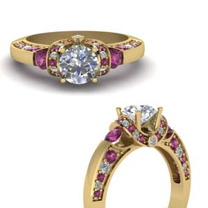 2 Side Diamond Ring With Pink Sapphire