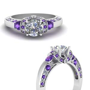 Antique Purple Topaz Moissanite Ring
