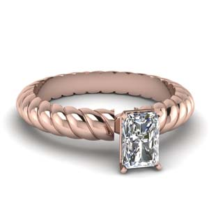 Rope Design Radiant Diamond Ring