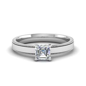 Solitaire Asscher Diamond Wedding Ring