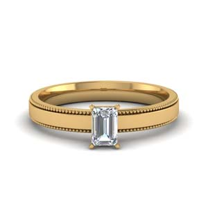 Solitaire Milgrain Emerald Cut Ring