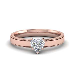 18K Rose Gold Heart Shaped Ring