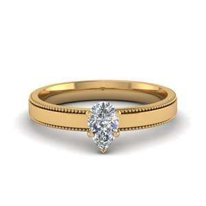 Milgrain Pear Shaped Engagement Ring