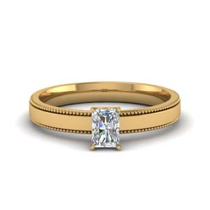 0.5 carat diamond milgrain radiant cut solitaire engagement ring in FDENR8985RAR NL YG.jpg