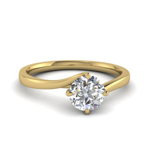twisted round cut solitaire engagement ring in FDENR9009ROR NL YG